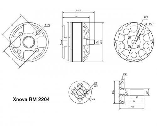 Roulements pour Xnova RM 2204 détails techniques