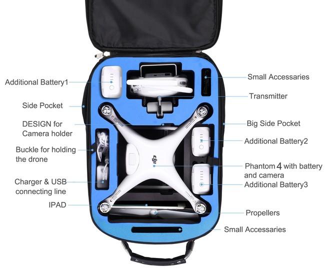 Sac à dos à roulettes pour DJI Phantom 4 avec accessoires - vue du dessous