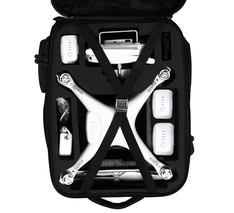 Vue intérieure du sac à dos carbone pour DJI Phantom 4 & 4 Pro