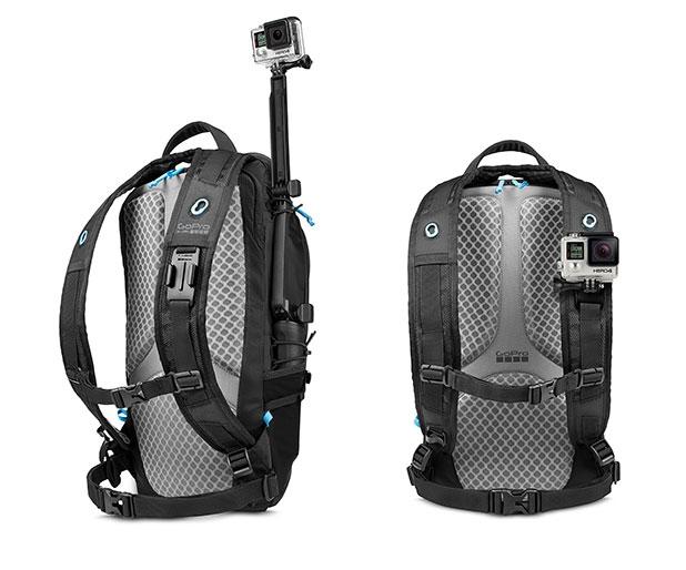 Sac à dos Seeker pour GoPro Hero 3/3+ et 4 en vue arrière de biais et de face
