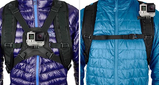 Deux vues de face du sac à dos seeker pour GoPro Hero 3/3+ et 4 avec fixation de la caméra