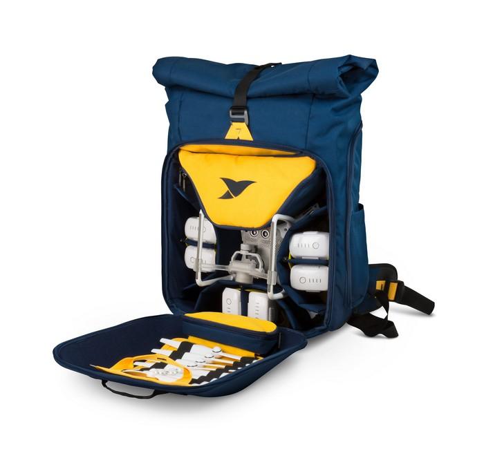 Sac à dos Drone Adventure Backpack Torvol ouvert avec drone DJI Phantom 4 et accessoires rangés