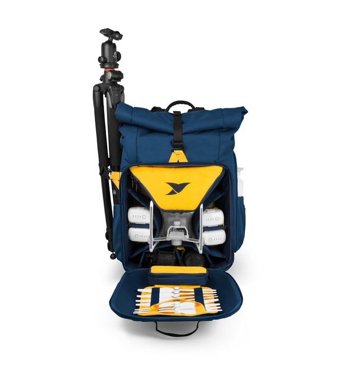 Sac à dos Drone Adventure Backpack Torvol avec accessoires rangés - vue de face