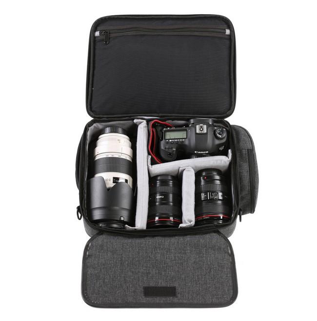 Sacoche grise pour DJI Mavic Pro avec appareil photo et objectifs