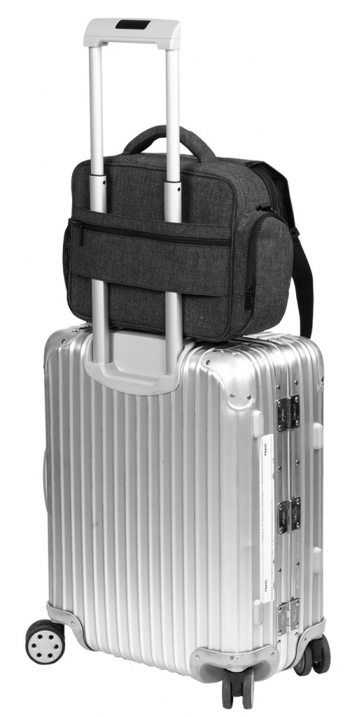 Sacoche grise pour DJI Mavic Pro installé sur une valise