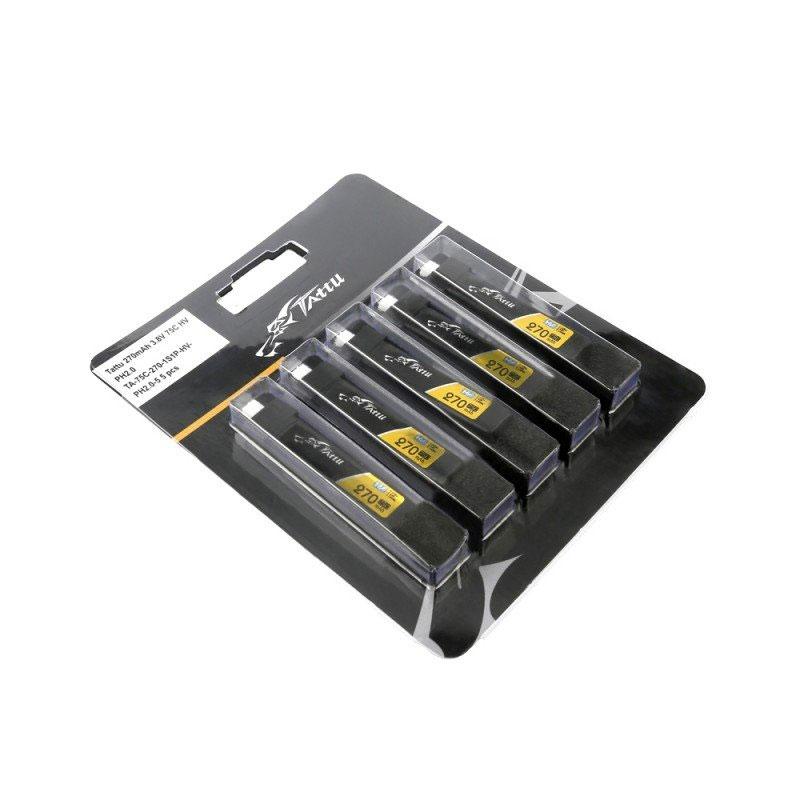 Set de 5 batteries LiPo 1S 270mAh 75C (PH2.0) - Tattu