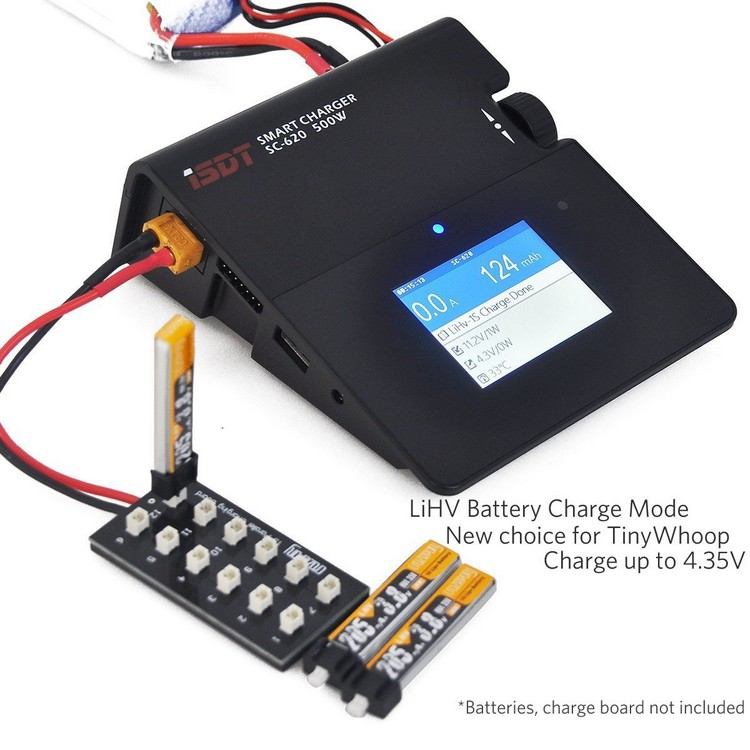 Smart Charger ISDT SC-620 relié à la platine de charge pour batterie Tiny Whoop