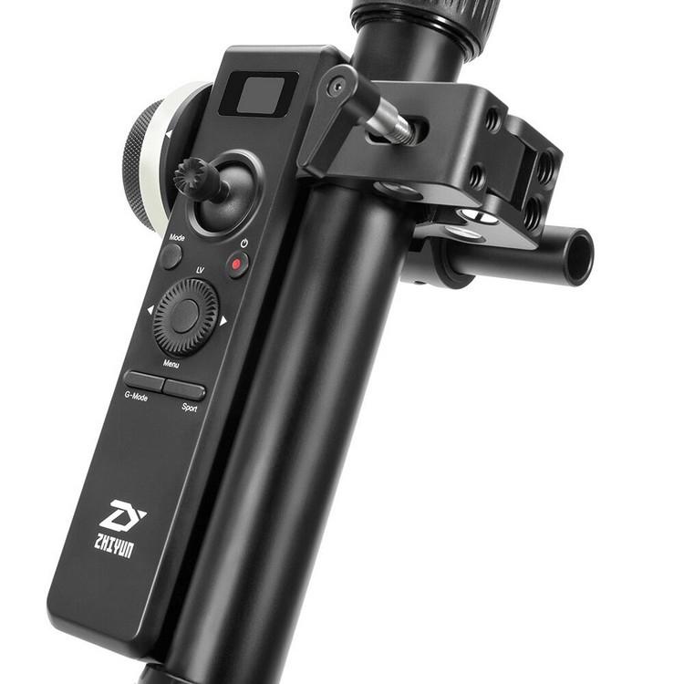 Télécommande Follow Focus pour Zhiyun Crane 2 installé sur un tube