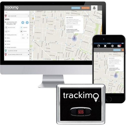 Ordinateur avec GPS Trackimo et smartphone avec l'application Trackimo