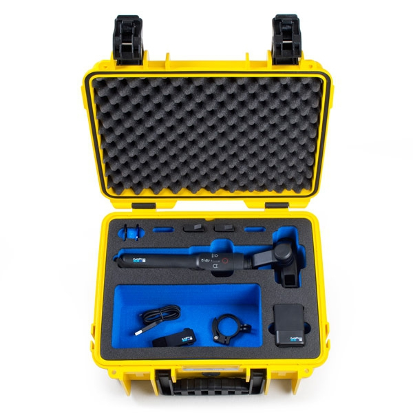 Valise B&W type 3000 GoPro Karma Grip jaune de face