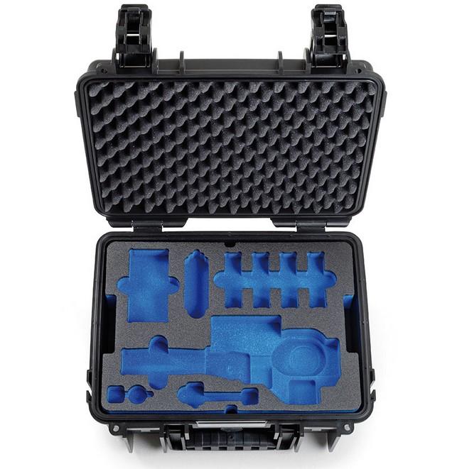 Vue du premier compartiment de la valise B&W Type 3000 pour DJI Osmo+ (Osmo Plus) - noir