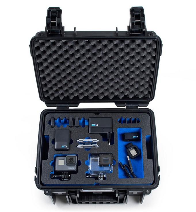 Valise B&W Type 3000 pour GoPro Hero5 Black avec accessoires - vue de face