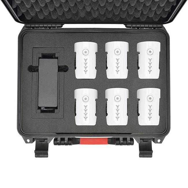 Valise HPRC avec 6 batteries Inspire 1 et chargeur - vue du dessus