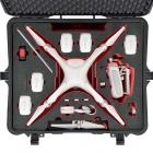 Valise Plaber pour drone DJI Phantom 4 avec drone et accessoires rangés - vue du dessus