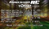 Vue de l\'OSD du Vortex Pro 250 de chez ImmersionRC