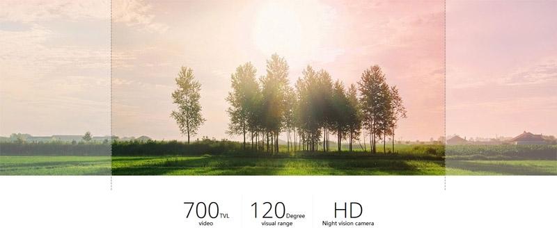 Comparaison d\'image avec une caméra FPV et celle du Walkera F210 à 120°