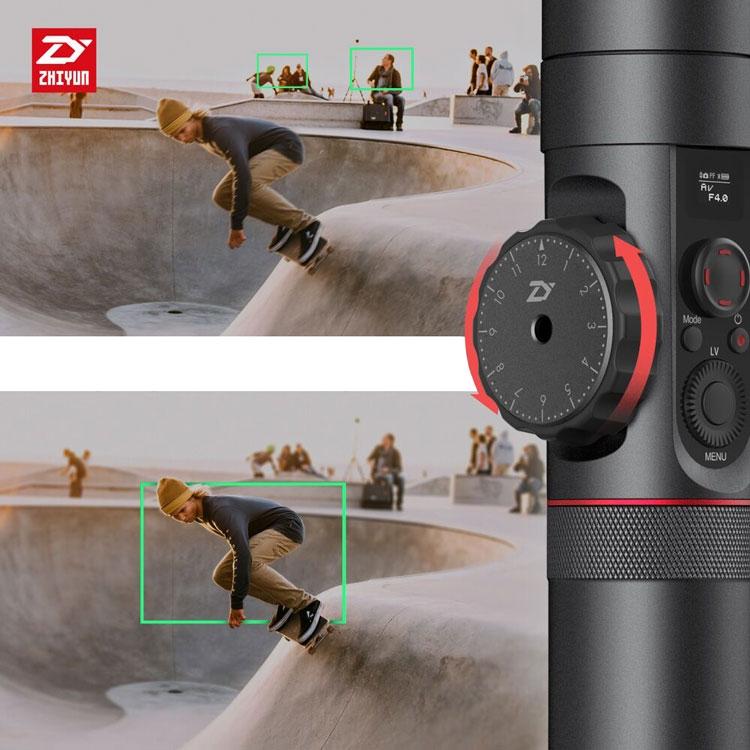Zoom sur la molette du focus du Zhiyun Crane 2